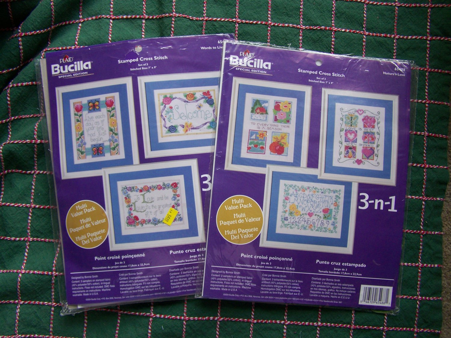 2 Bucilla 3 in 1 Special Edition Stamped Cross Stitch Kits Words to Live By & Nature's Love