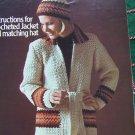 Vintage KNitting & Crochet Patterns Misses Popcorn Cardigan Sweater & Hat Crochet Jacket & Hat