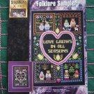 New Cross Stitch Leaflet Pattern Folk Art Sampler Love Grows In All Seasons