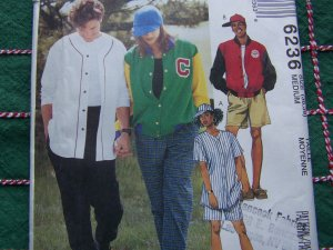 New Sewing Pattern 6236 Letterman Stadium Jacket Ball Cap Sports Wear 36 38 Chest