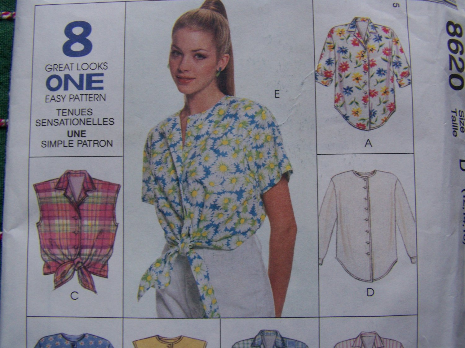 New 1990s McCall's Sewing Pattern 8620 Misses 8 Button Up Shirts 12 14 16