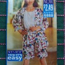 New 90s Sewing Pattern 6888 Misses Wide Leg Elastic Waist Shorts Top & Shirt 12 14 16
