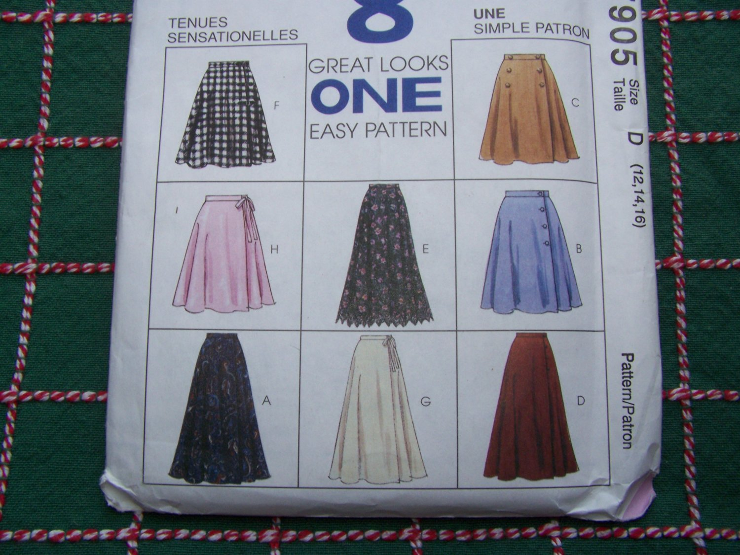 New 90s Easy McCall's Sewing Pattern 7905 Misses Wrap Skirts 2 Lengths 12 14 16