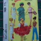 Part Cut 1964 Vintage Sewing Pattern McCall's 7429 Barbie or Midge 11 1/2 Original Doll Clothing