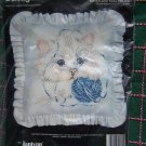 New Janlynn Kitten and Yarn Pillow Cat Printed Cross Stitch Craft Kit 80-124