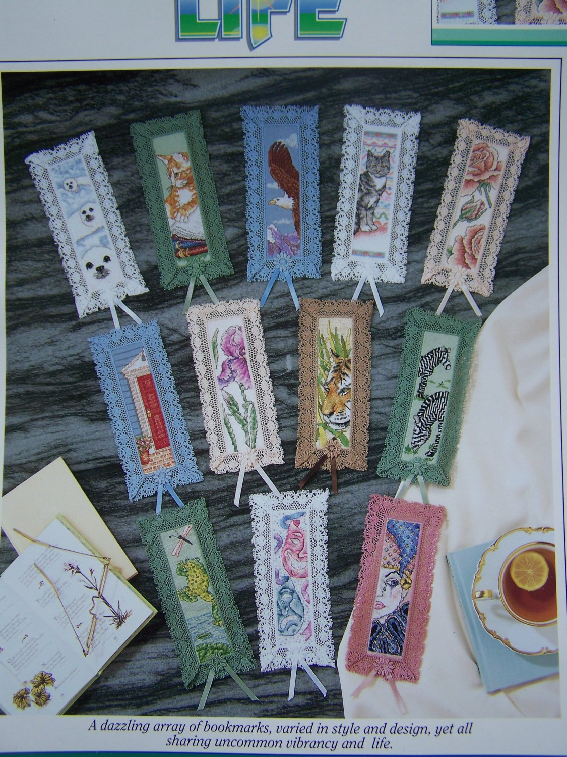 Cross Stitch Patterns Color Charts 12 Bookmarks Plus 2 Aida Cloth Lacy Ribbon Book Marks