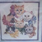 New Cats and Bows Craft Kit Counted Cross Stitch Embroidery Candamar 50340