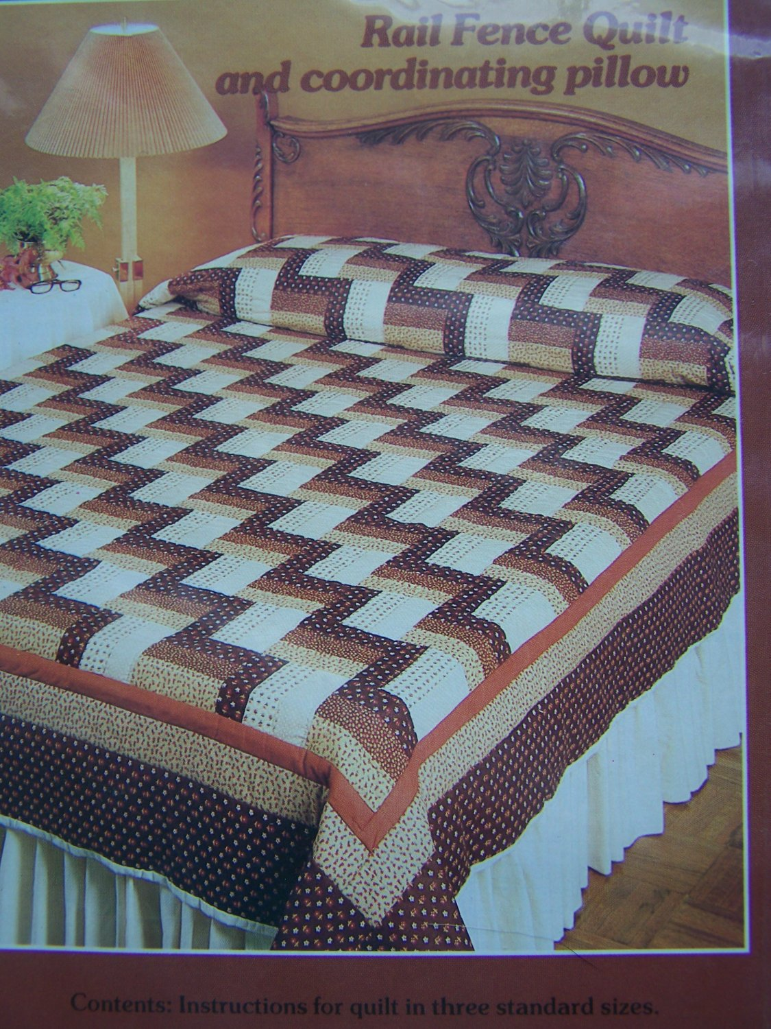 Free Usa S Amp H Vintage 80s Quilting Pattern Rail Fence Quilt