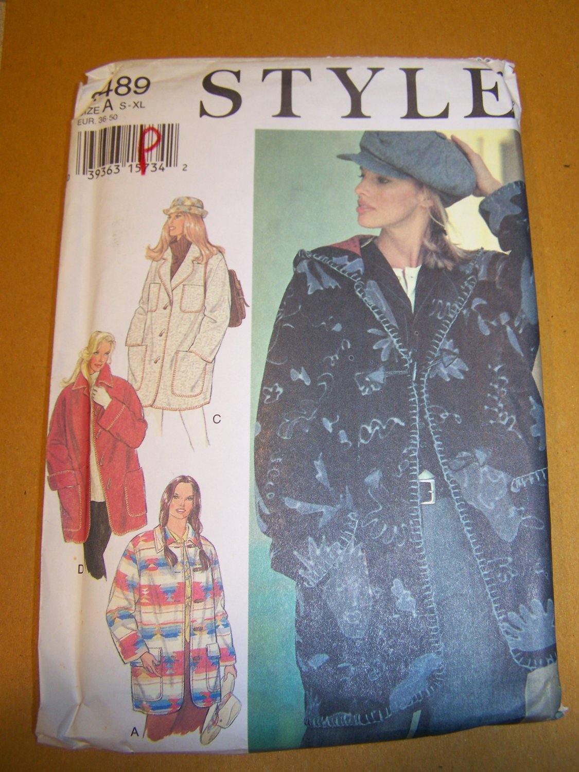 Uncut Style Sewing Pattern 2489 Misses Coat Jacket Collar or Hood S M L XL