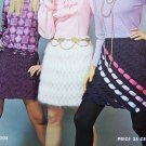 1970s Vintage Knitting Patterns 3 Womens Lace Mini Skirts Hippie Style Angora & Worsted Yarns