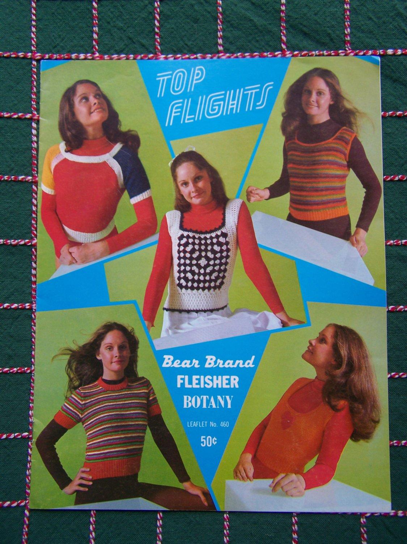 New 1971 Vintage Bear Brand Knitting Patterns Top Flights 5 Short Sleeve Shirts Tank Tops