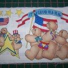 3 1990s New Daisy Kingdom No Sew appliques Fabric Patriotic Bears Parade Americana Easter bunny Lot