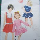 New 60s Vintage Girls Sz 10 Sewing Pattern 4143 One Piece Dress Dropped Waist Full Circle Skirt
