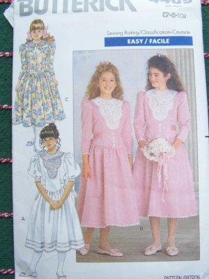 Uncut Girls 7 8 10 Sewing Pattern Vintage Dress Full Skirt Puff Sleeves Tie Back 4489