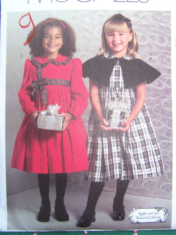 USA Free S&H  New Ruffles & Lace Girls Sewing Pattern 4999 Christmas Dress & Capelet 2 3 4 5