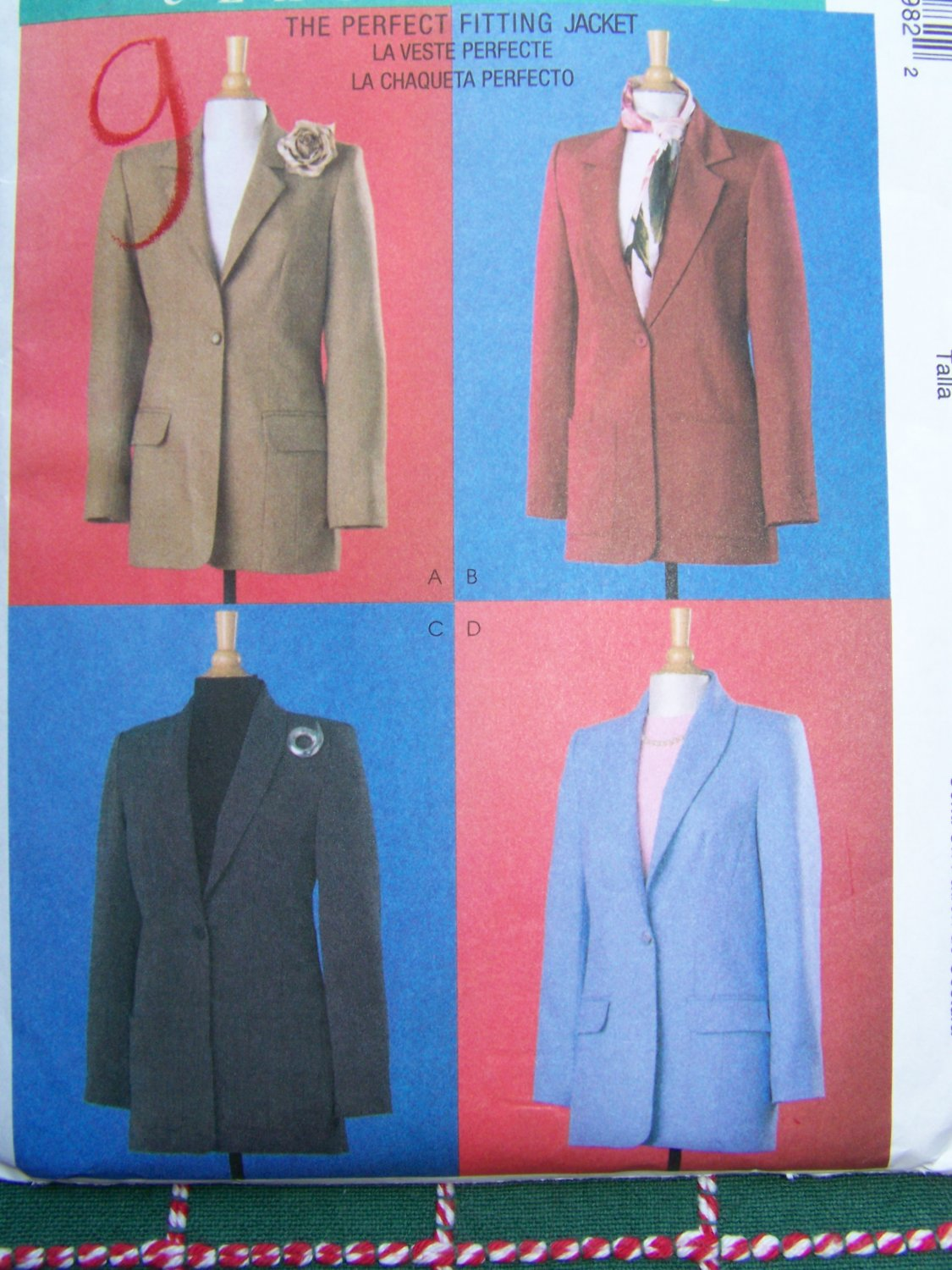 New McCalls Sewing Pattern 4598 Misses Lined Blazer Jacket 12 14 16 18
