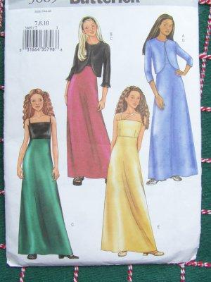 New Girls Sewing Pattern 3669 Evening Gown Maxi Dress Bolero Flower Girl 7 8 10
