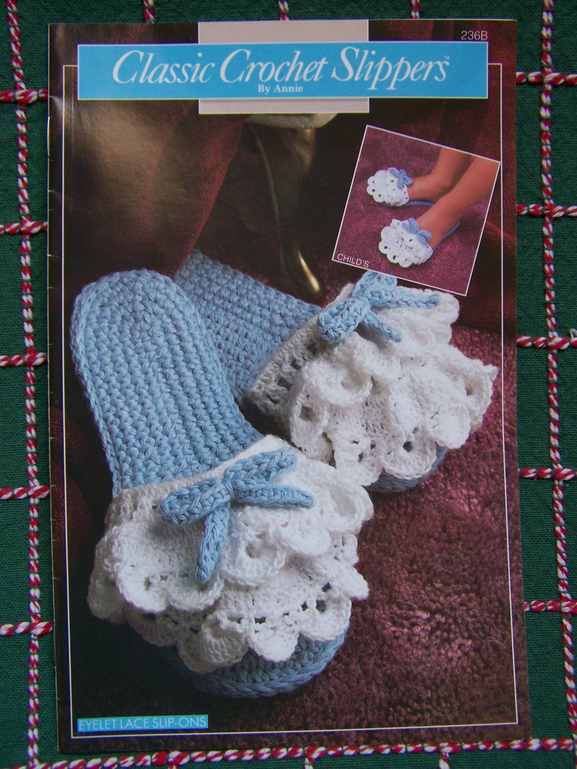 USA Free S&H 7 Classic Slippers Annie's Attic Crochet Patterns Womens & Girls S M L