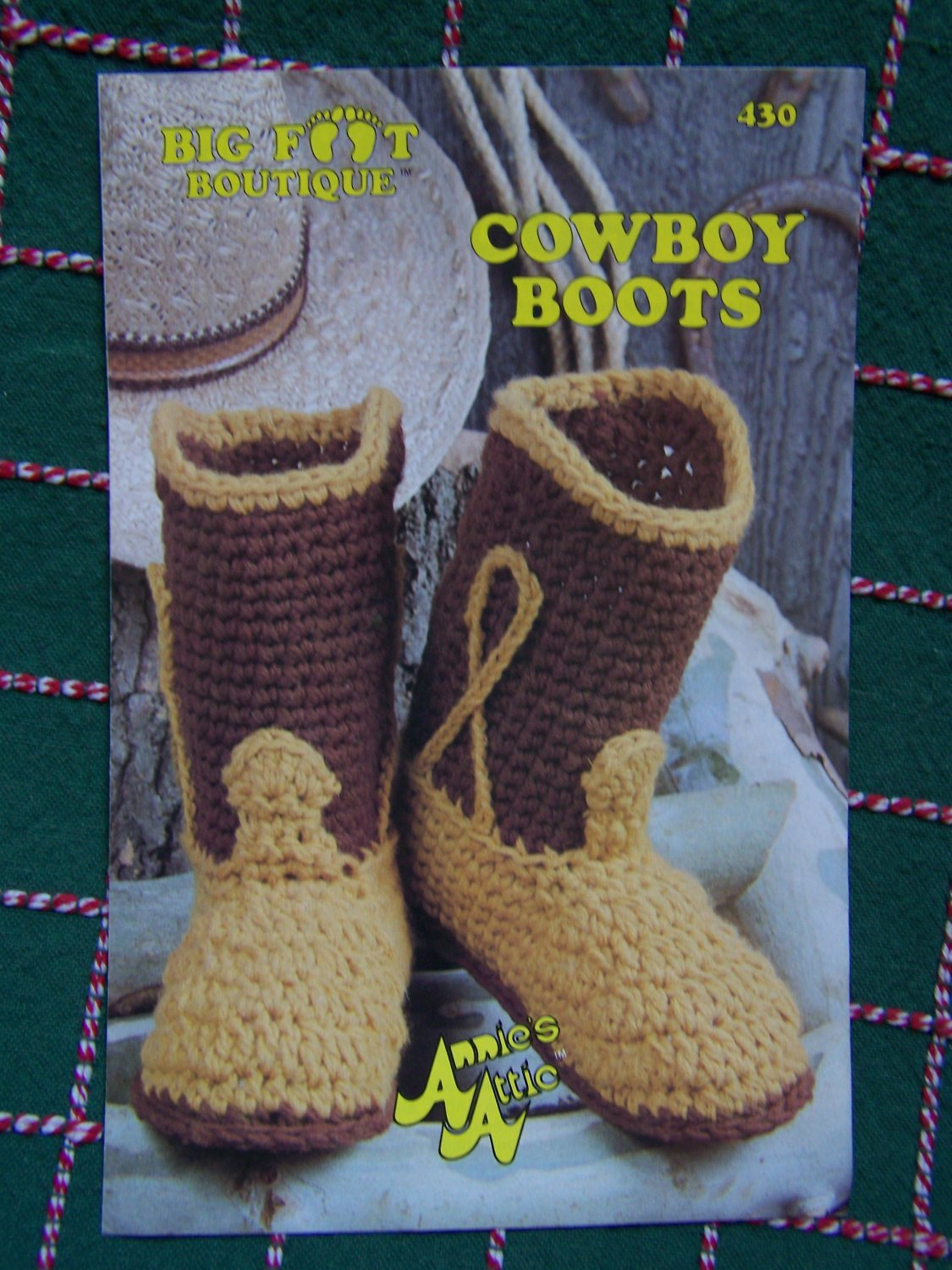 S&H Free USA Vintage Cowboy Boots Annies Attic Crochet Pattern 430 House Shoes Slippers