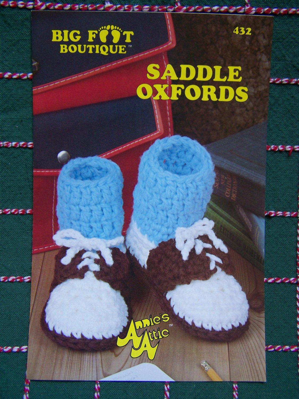 Vintage Annie's Attic Crochet Pattern Saddle Oxford Shoes Mens Womens Childrens