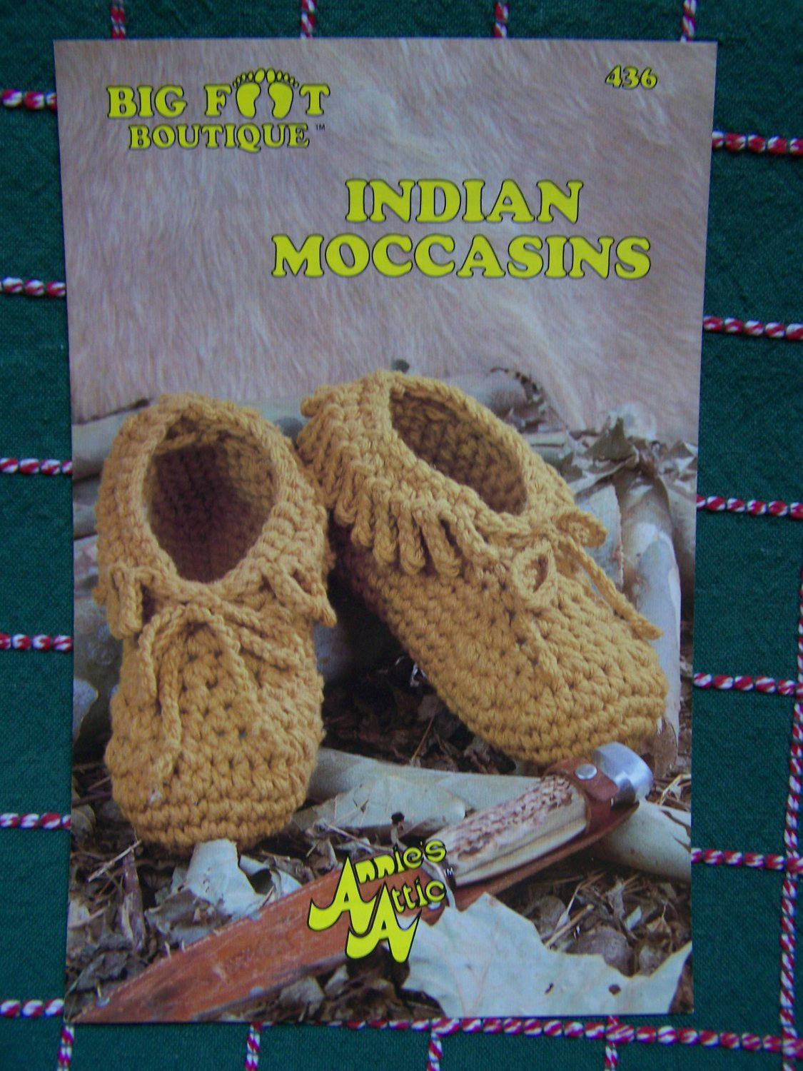 Free USA S&H 1980s Annie's Attic Crochet Pattern Indian Moccasins Adult & Kids Sizes