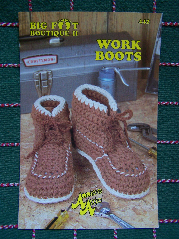 USA 0 S&H Vintage Adult & Child Sizes Crochet Work Boots Pattern Annie's Attic 442 Big Foot