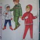 New 1960s Vintage Children's 5 Sewing Pattern 4636 Ski Clothing Lined Hoodie Jacket Pants Skiing