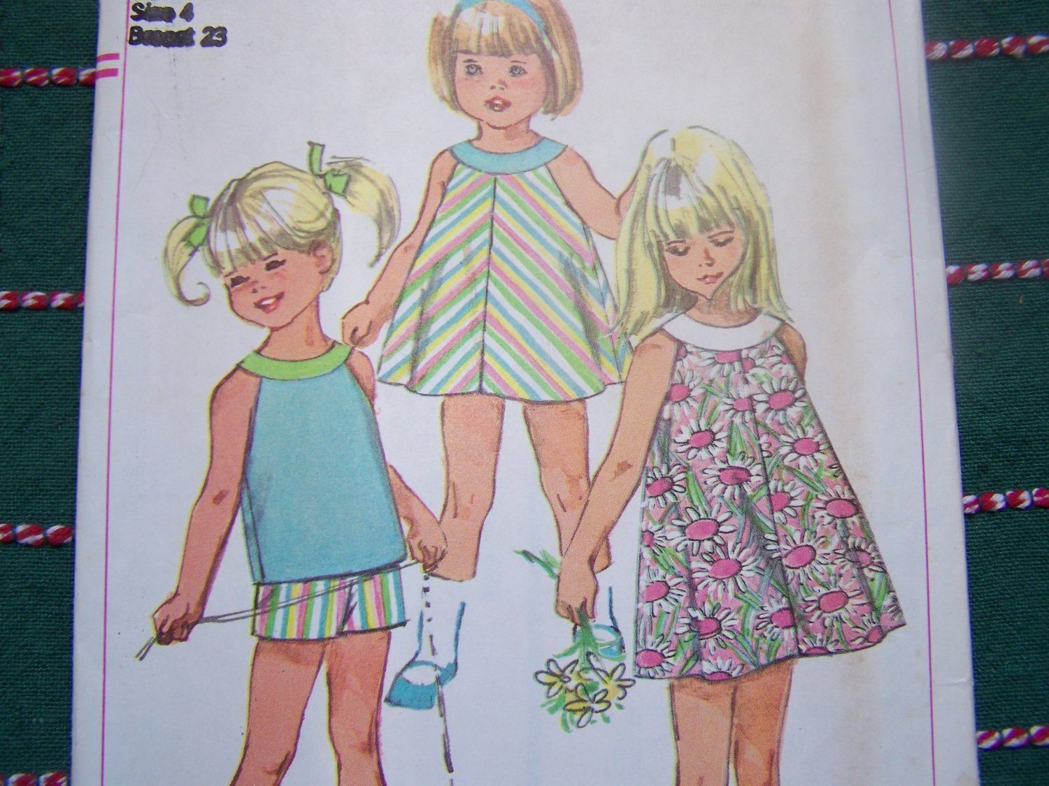 New 60's Vintage Girls Sewing Pattern 7043 Yoke A Line Tent Dress Top Shorts