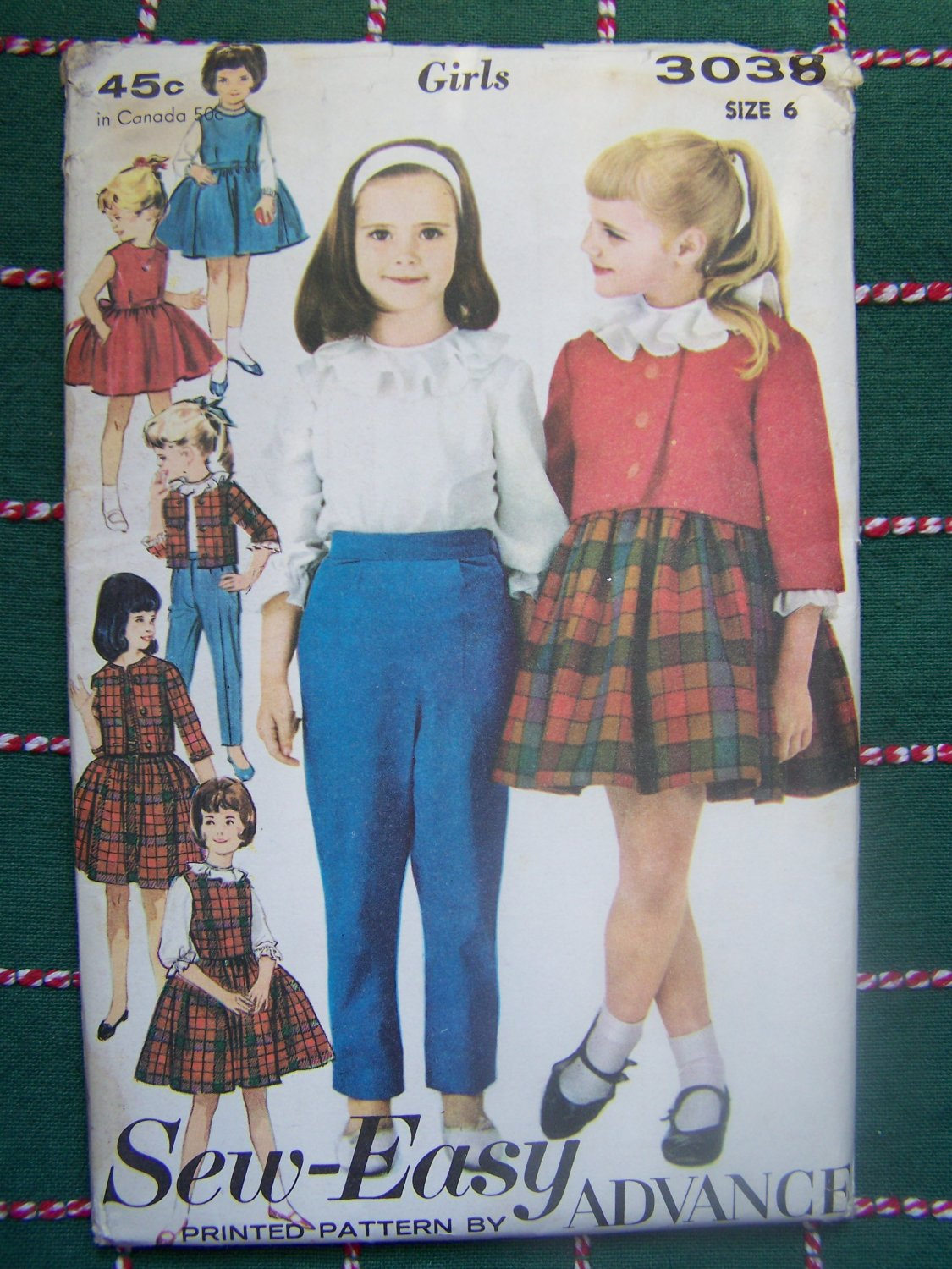 New 1960s Vintage Sewing Pattern 3038 Girls 7 Day Wardrobe Jumper Dress Tops Pants