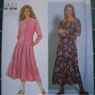 USA 0 S&H Uncut Vintage Sewing Pattern 7377 Drop Waist Dress Long Sleeves Pullover or Button Front