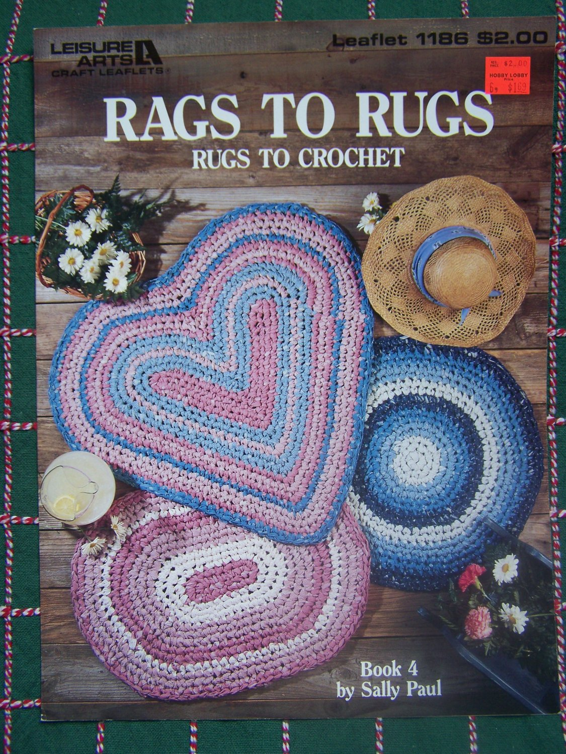 Vintage Rag Fabric Crochet Rug Patterns 3 Rag Rugs Heart Oval Round