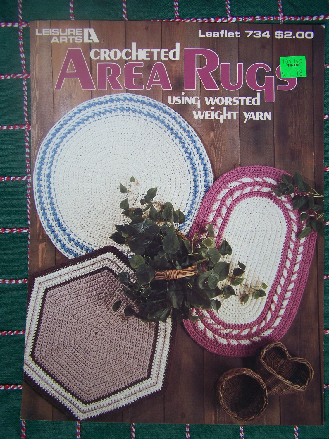 Vintage Crochet Patterns Area Rugs Worsted Yarn Oval Round Hexagon Shapes