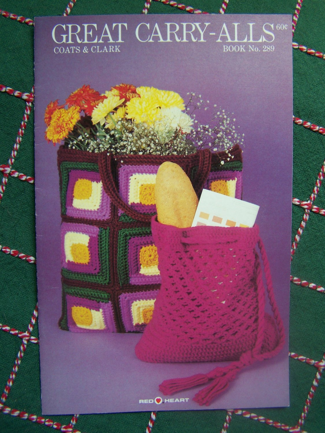 Vintage Tote Bag Crochet Knitting Patterns Shoulder Purse Clutch Drawstring Shopping Duffle