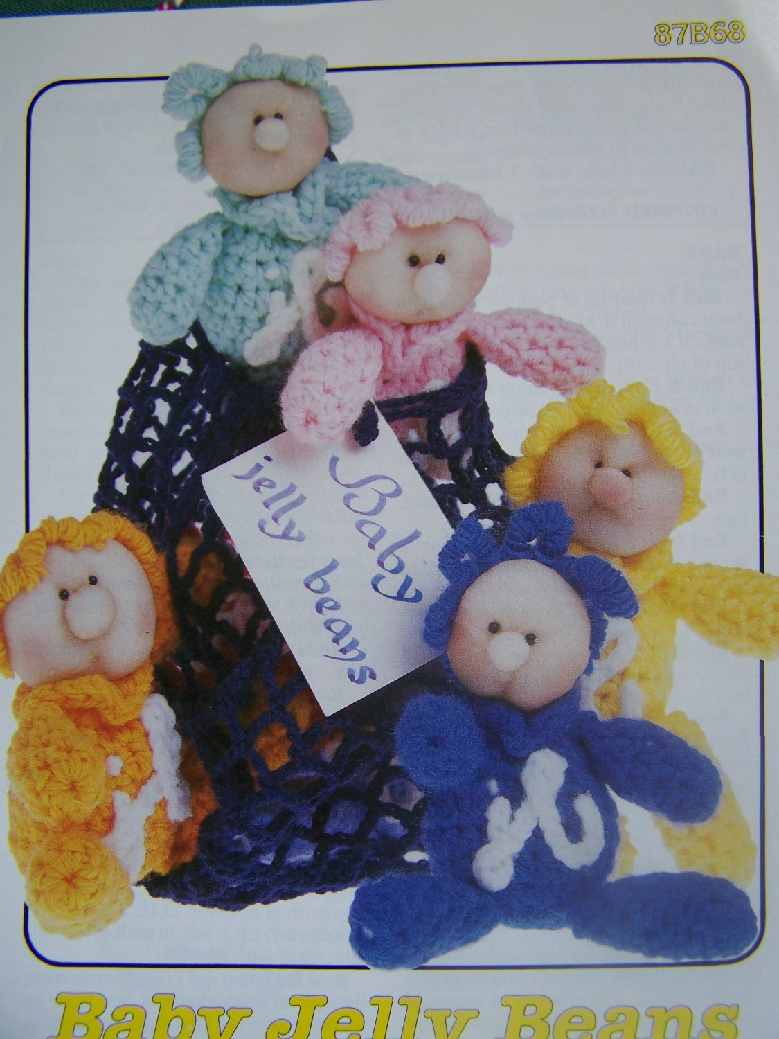 USA Free S&H Vintage Annie's Attic Crochet Pattern Baby Jelly Beans In A Bag Beanie Toys