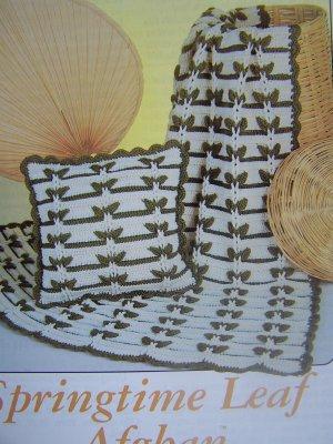 USA Free S&H Vintage Annie's Attic Crochet Pattern Springtime Leaf Afghan & Pillow 8B001