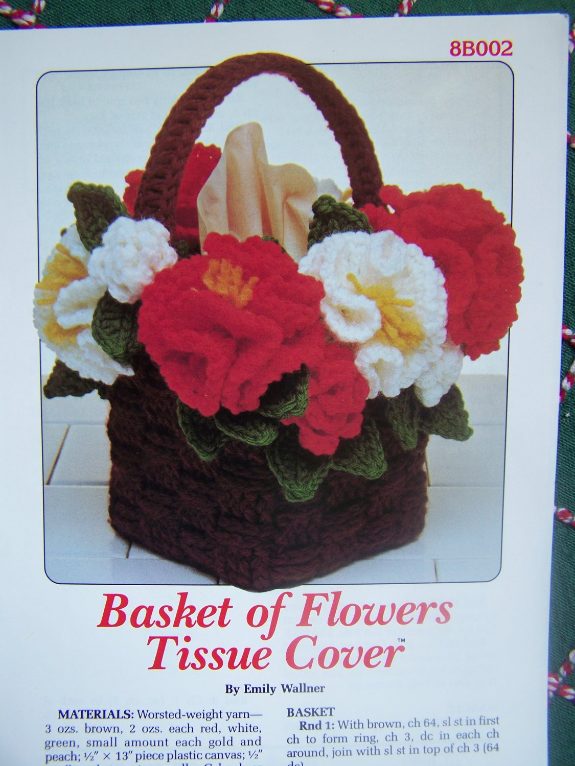 Free S&H USA Vintage Annie's Attic Crochet Pattern Basket Of Flowers Tissue Box Cover 8B002