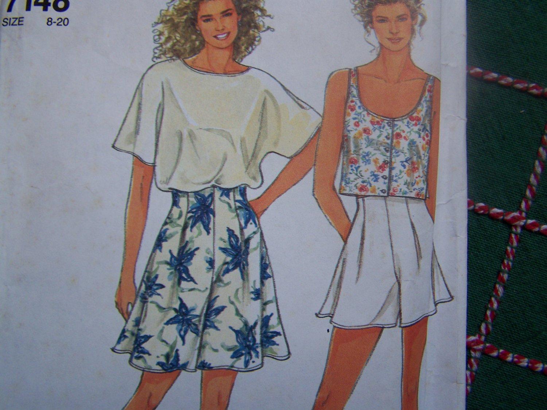 Uncut Vintage Sewing Pattern 7148 Misses 8-20 Kimono Shirt or Crop Top Tank High Waist Shorts