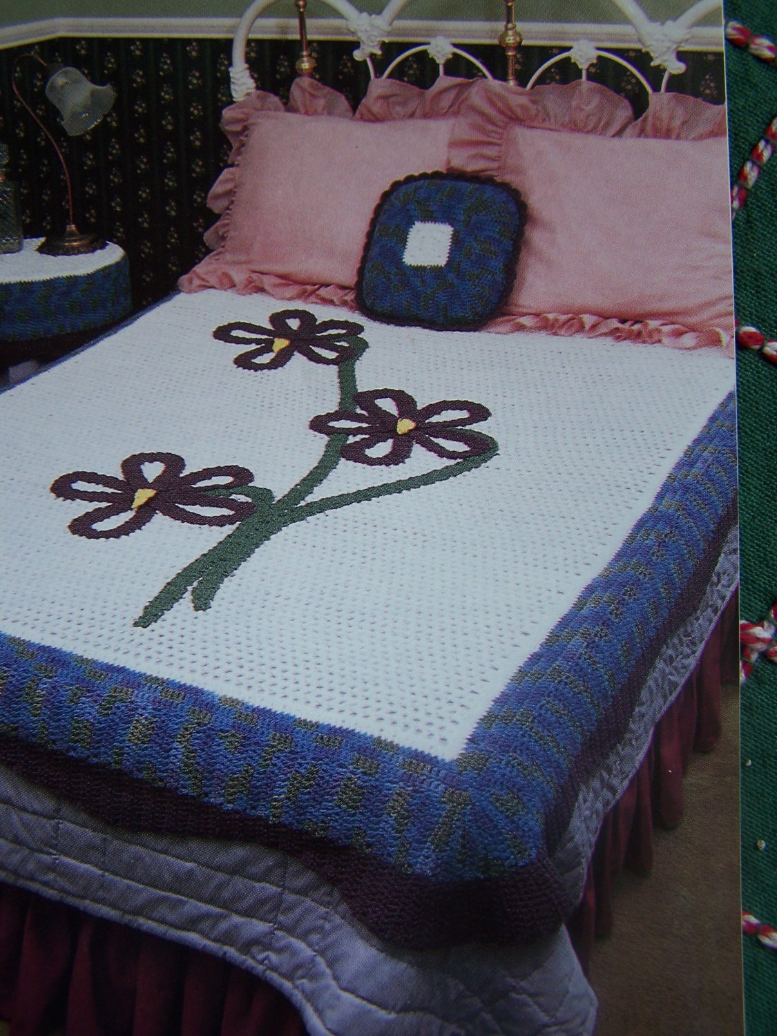 0 S&H USA Vintage Crochet Patterns Annie's Attic Violet Bedroom Toppers Afghan Pillow Table