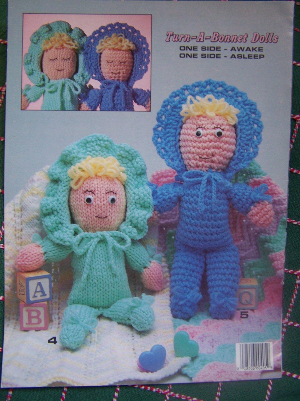 Vintage Toys & Dolls To Knit & Crochet Awake Asleep Turn a Bonnet Dolls Panda Doll