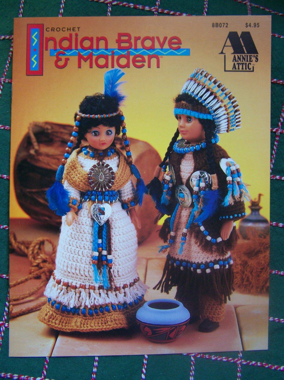 """USA Free S&H Annie's Attic Crochet Patterns 15"""" Dolls Indian Brave & Maiden"""