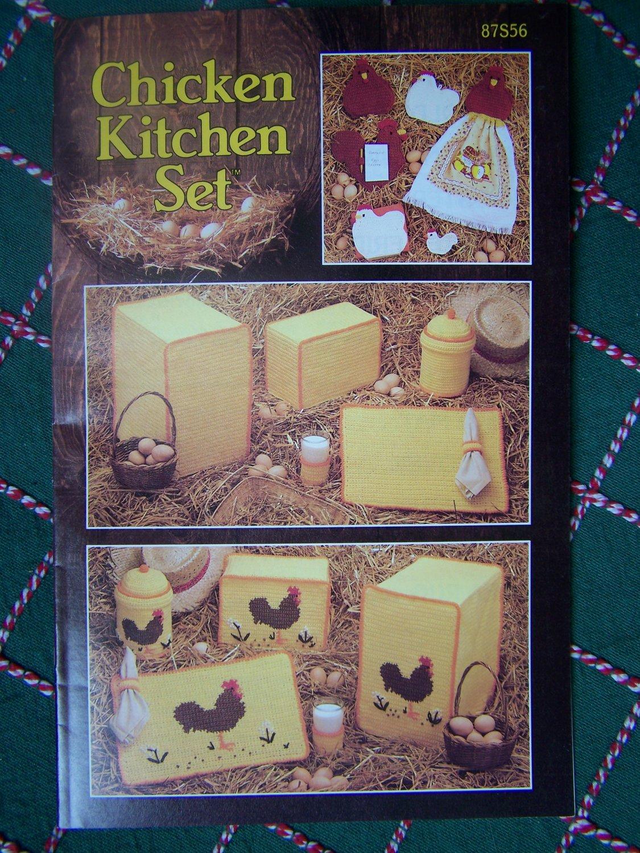 S&H Free USA Annie's Attic Crochet Patterns Chicken & Rooster Kitchen Set Book 87S56