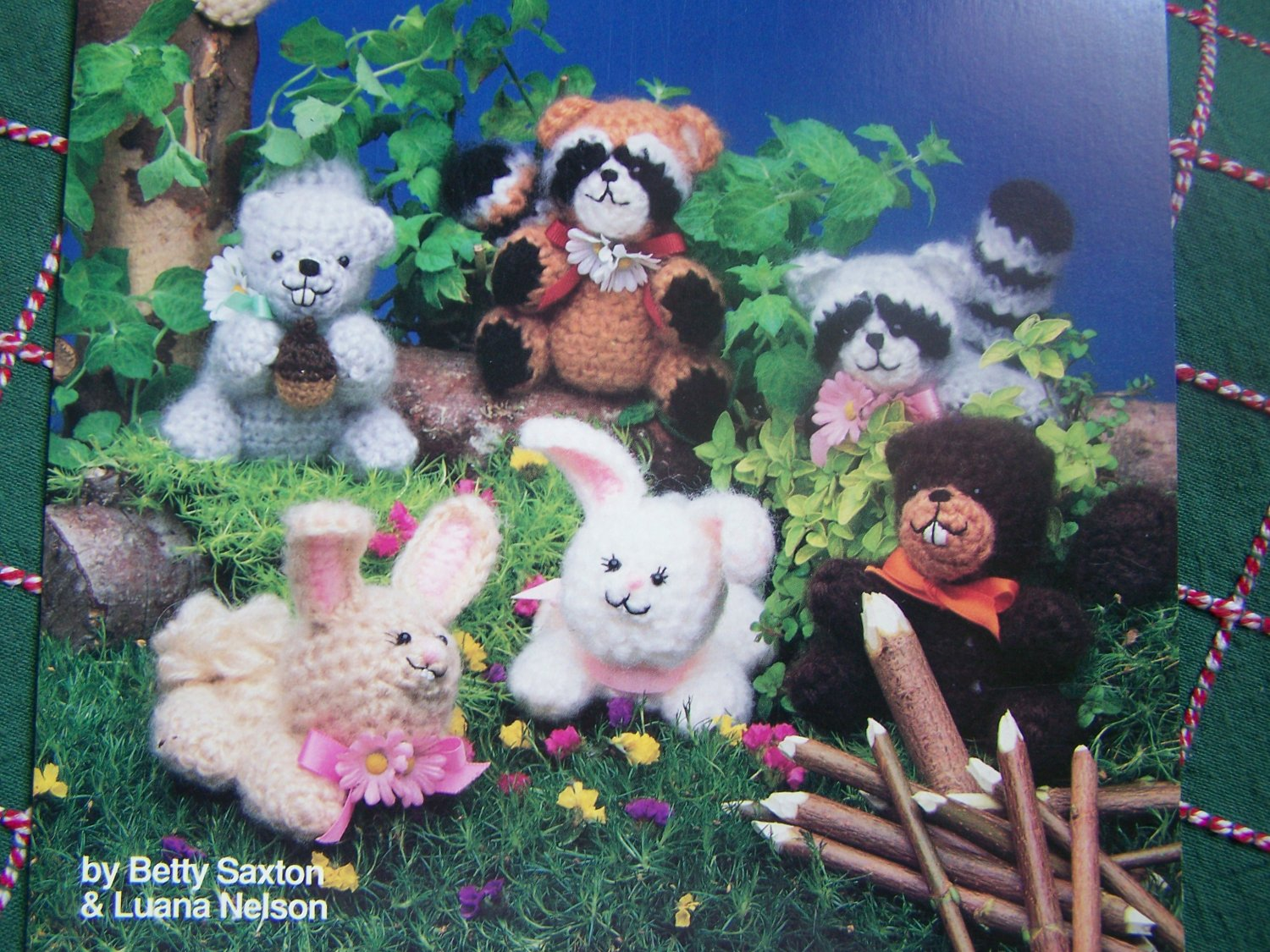 USA Free S&H Vintage Crochet Patterns Forest Friends Stuffed Squirrel Racoon Beaver Bunny