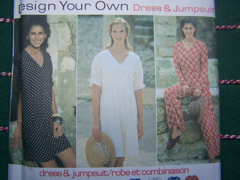 USA Free S&H Uncut Sewing Pattern 9407 Misses Dress & Jumpsuit 18 20 22 24 Raised waist