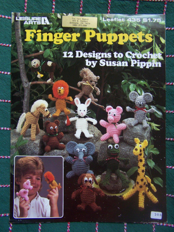 12 Crochet Finger Puppets Animal Patterns Lion Dog Elephant Frog Monkey Mouse +