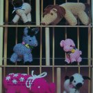 6 Vintage Stuffed Animal Crochet Patterns Donkey Pig Siamese Cat Elephant Horse Lamb