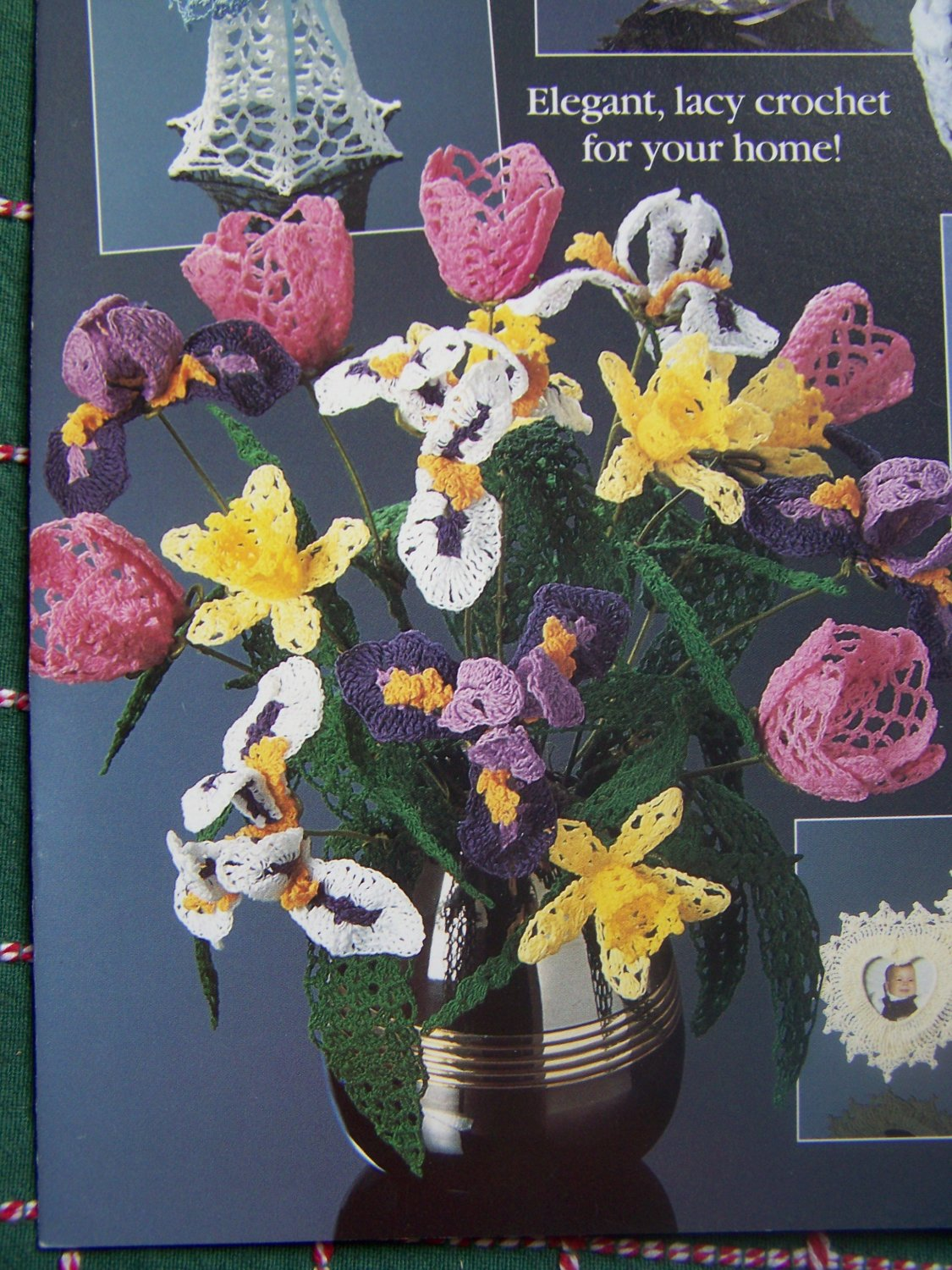 Vintage Crochet Patterns Long Stem Tulips Iris Daffodil Pineapple Bell Free USA S&H