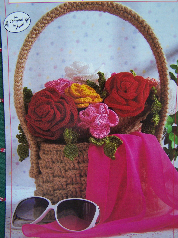 Annie's Attic Basket of Roses Crochet Pattern 2692 Vintage 1980's