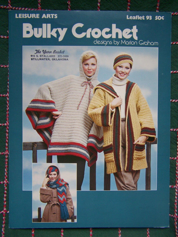 70s Vintage Crochet Patterns Hippie Hoodie Poncho Long Sweater Jacket Hat Scarf S M L 93