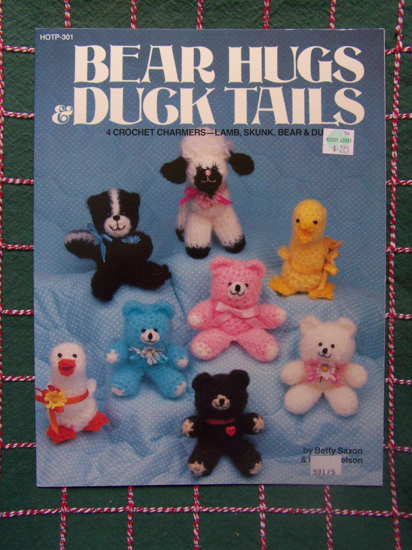 4 New Crochet Patterns Mini Stuffed Animals Skunk Duck Teddy Bear Lamb