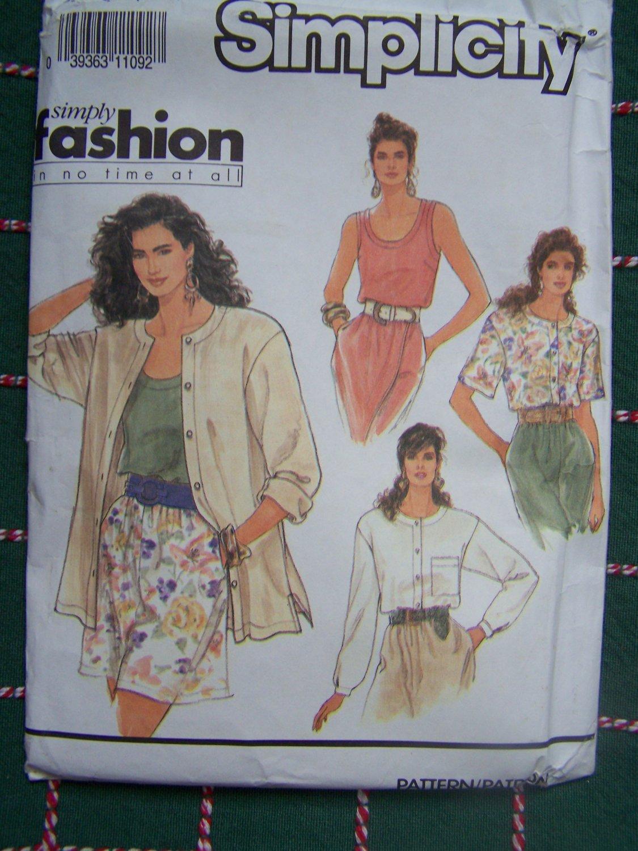 Uncut Vintage Sewing Pattern 7172 Misses Tank Top Blouse Short & Long Sleeves Over Shirt